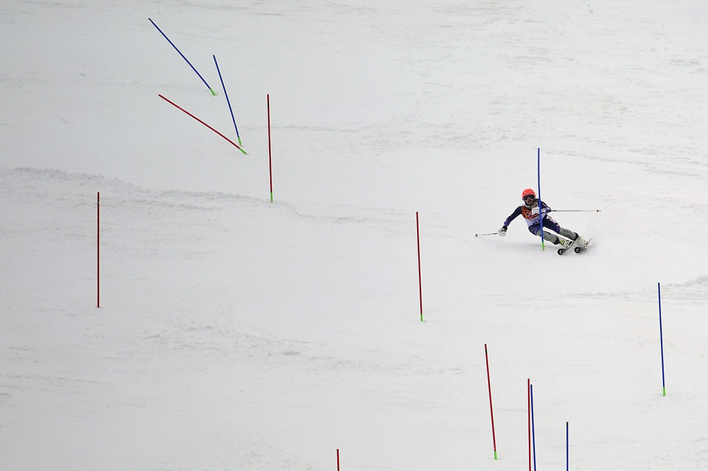 . US skier Julia Mancuso skis during the Women\'s Alpine Skiing Super Combined Slalom at the Rosa Khutor Alpine Center during the Sochi Winter Olympics on February 10, 2014.  AFP PHOTO / OLIVIER MORIN/AFP/Getty Images