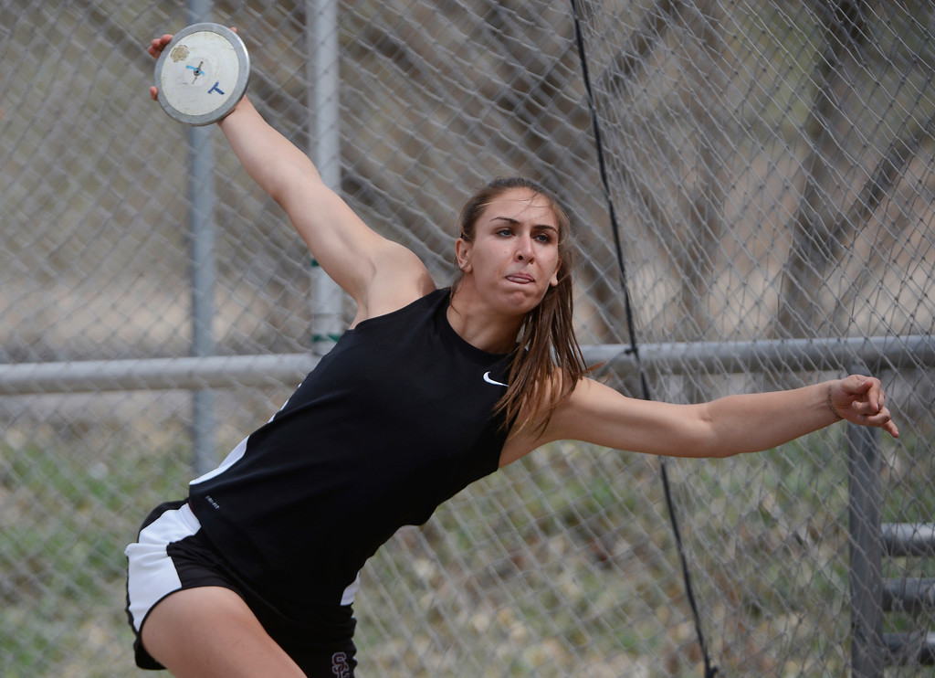 . DENVER, CO. - APRIL 13TH: Valarie Allman, Silver Creek, winds up during the girls discus throw competition at the Mullen Runners Roost 2013 Track and Field Invitational at Mullen High School, Saturday April, 13th 2013.(Photo By Andy Cross/The Denver Post)