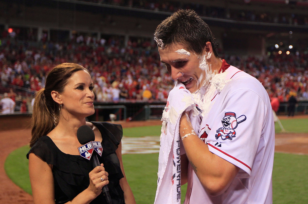 . Cincinnati Reds starting pitcher Homer Bailey is interviewed after throwing a no-hitter against the San Francisco Giants in a baseball game, Tuesday, July 2, 2013, in Cincinnati. (AP Photo/Al Behrman)