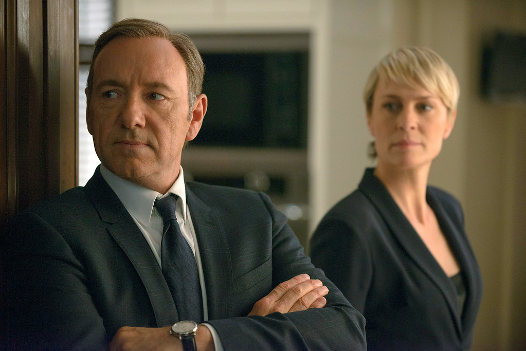 ". This image released by Netflix shows Kevin Spacey as Francis Underwood, left, and Robin Wright as Clair Underwood in a scene from ""House of Cards.\"" Spacey was nominated for an Emmy Award for best actor in a drama series on Thursday, July 10, 2014, for his role as Frank Underwood. The 66th Primetime Emmy Awards will be presented Aug. 25 at the Nokia Theatre in Los Angeles. (AP Photo/Netflix, Nathaniel E. Bell)"