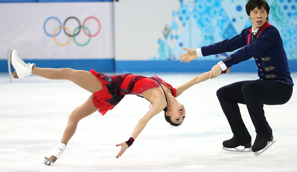 . Pang Qing and Tong Jian of China perform during the Pairs Free Skating of the Figure Skating event at the Iceberg Palace during the Sochi 2014 Olympic Games, Sochi, Russia, on February 12, 2014.  EPA/HOW HWEE YOUNG