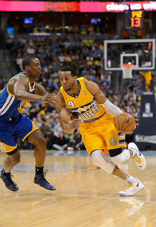 . DENVER, CO. - APRIL 20: Denver Nuggets shooting guard Andre Iguodala (9) drives down the court. The Denver Nuggets took on the Golden State Warriors in Game 1 of the Western Conference First Round Series at the Pepsi Center in Denver, Colo. on April 20, 2013. (Photo by John Leyba/The Denver Post)
