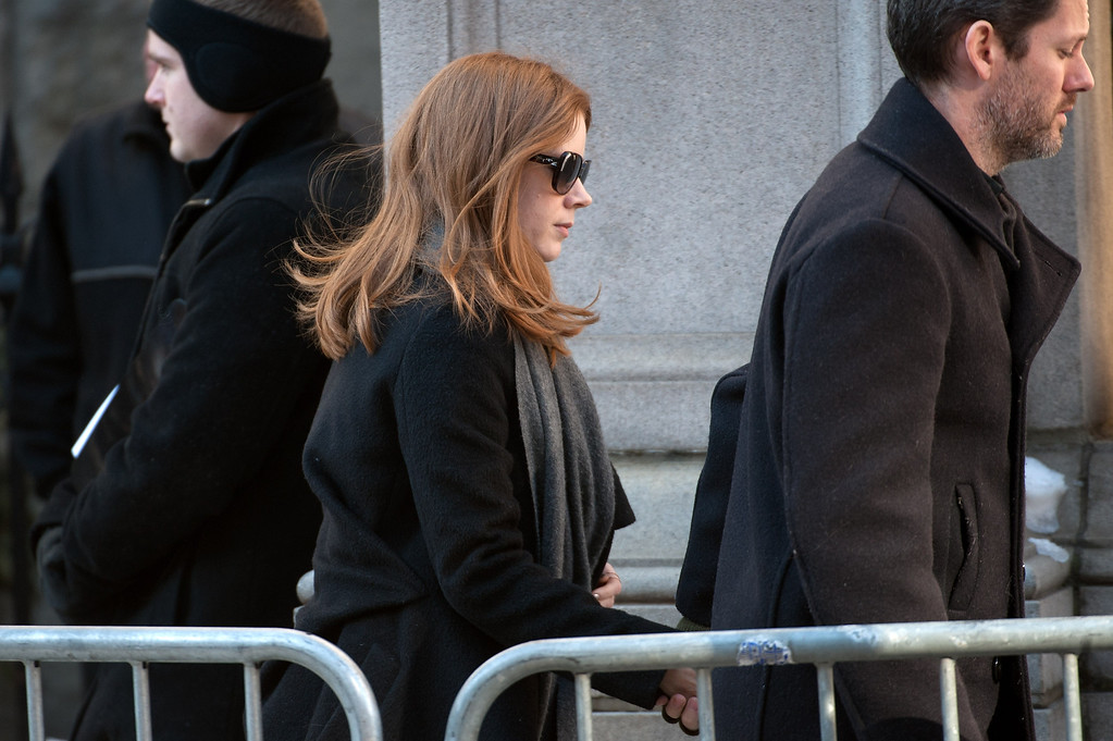 . Amy Adams attends the funeral service for actor Philip Seymour Hoffman at St. Ignatius Of Loyola on February 7, 2014 in New York City. Hoffman died of an alleged drug overdose on February 1, 2014.  (Photo by D Dipasupil/Getty Images)