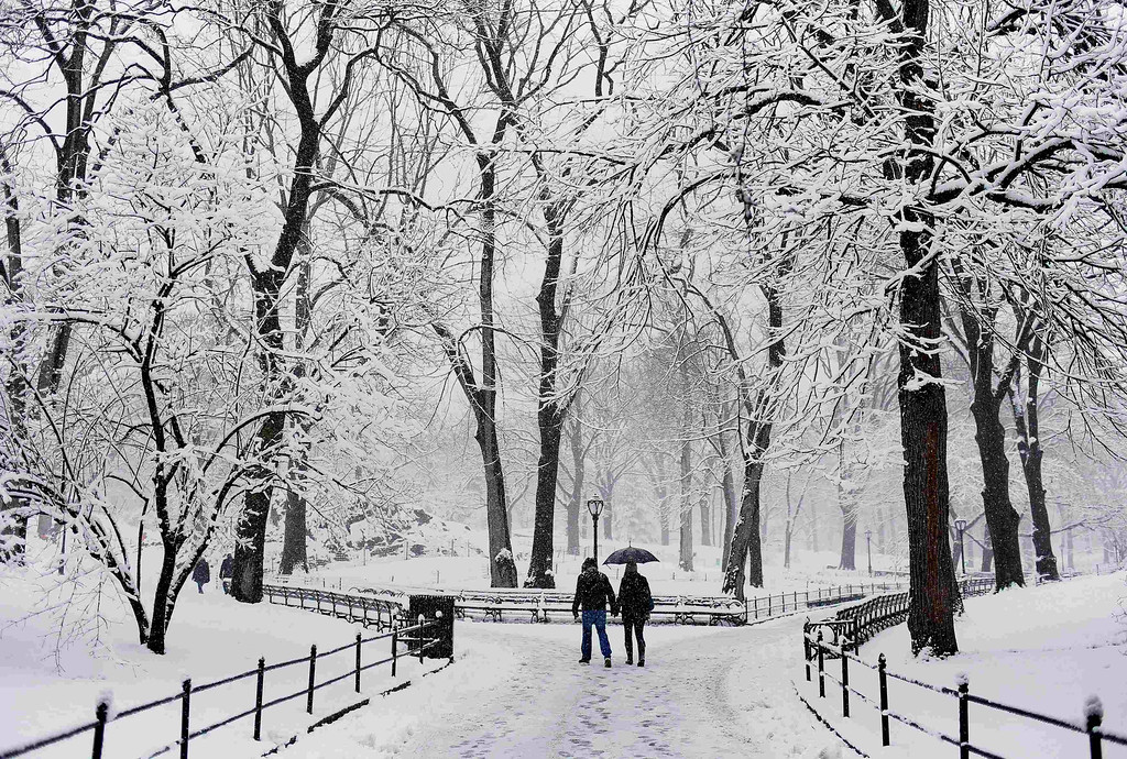 . A couple walks hand in hand through the snow at Central Park in New York March 8, 2013. A slow moving winter storm brought a combination of snow, rain and high winds to the northeast U.S. Friday after moving through the mid-Atlantic states earlier in the week. REUTERS/Shannon Stapleton