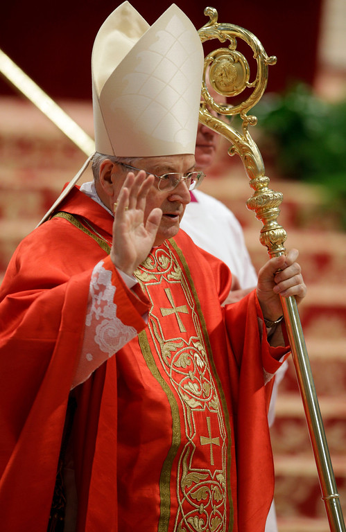 . Cardinal Angelo Sodano celebrates a Mass for the election of a new pope inside St. Peter\'s Basilica, at the Vatican, Tuesday, March 12, 2013. (AP Photo/Andrew Medichini)