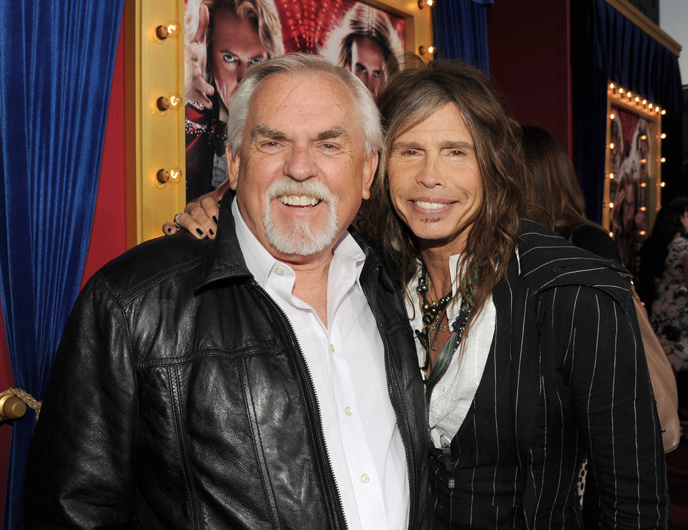 ". Actor John Ratzenberger (L) and musician Steven Tyler attend the premiere of Warner Bros. Pictures\' ""The Incredible Burt Wonderstone\"" at TCL Chinese Theatre on March 11, 2013 in Hollywood, California.  (Photo by Kevin Winter/Getty Images)"
