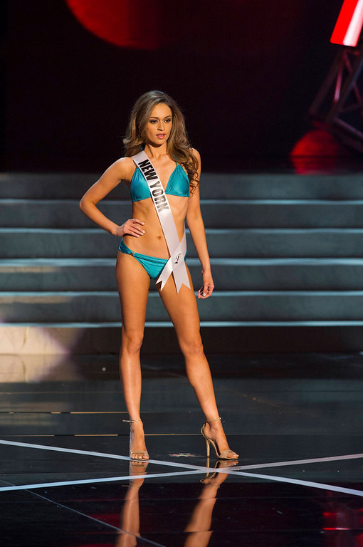 . Miss New York USA 2013, Joanne Nosuchinsky, competes in her ViX Paula Hermanny swimsuit and Chinese Laundry shoes during the 2013 MISS USA Competition Preliminary Show at PH Live in Las Vegas, Nevada June 12, 2013.  She will compete for the title of Miss USA 2013 and the coveted Miss USA Diamond Nexus Crown LIVE on NBC starting at 9:00 PM ET on June 16th, 2013 from PH Live.   Picture taken June 12, 2013. . REUTERS/Darren Decker/Miss Universe Organization L.P., LLLP/Handout via Reuters