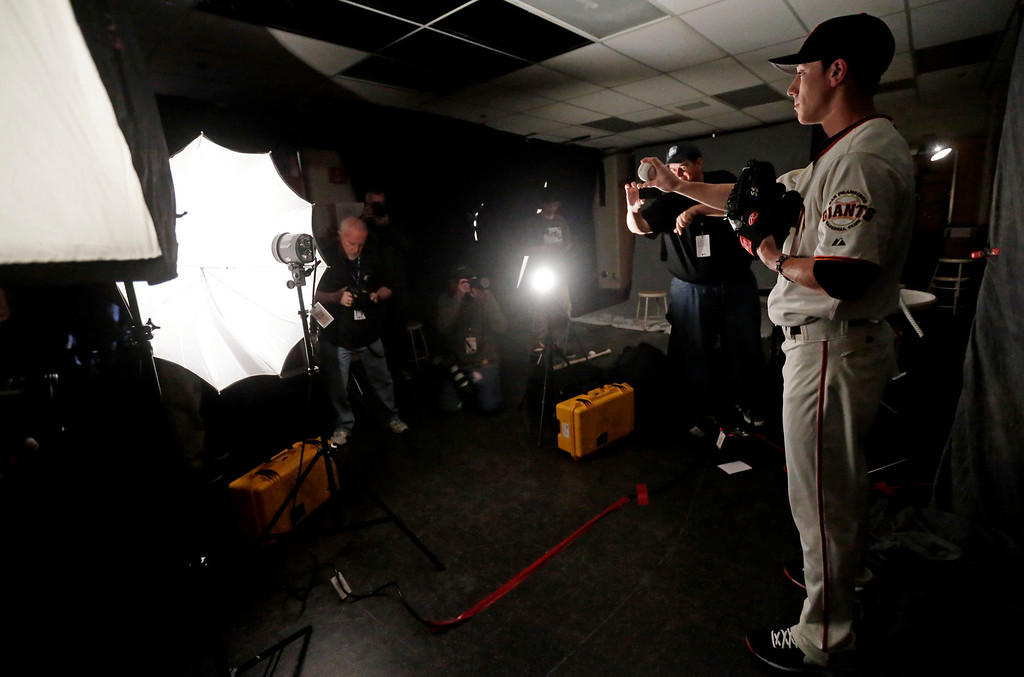 . San Francisco Giants\' Tim Lincecum poses for a picture during baseball spring training photo day Wednesday, Feb. 20, 2013  in Scottsdale, Ariz. (AP Photo/Morry Gash)