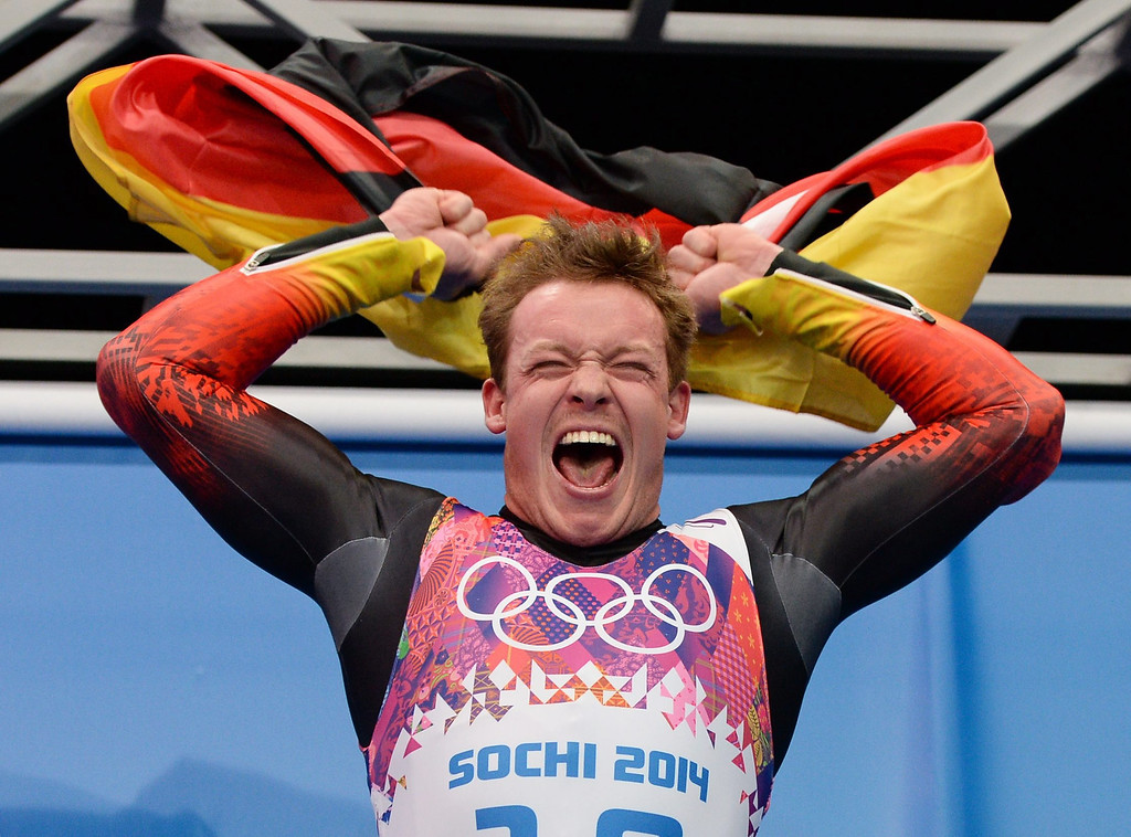 . Felix Loch of Germany celebrates at the end of his fourth run winning gold in the men\'s singles Luge at the Sanki Sliding Center at the Sochi 2014 Olympic Games, Krasnaya Polyana, Russia, on Feb. 9, 2014.  EPA/VASSIL DONEV