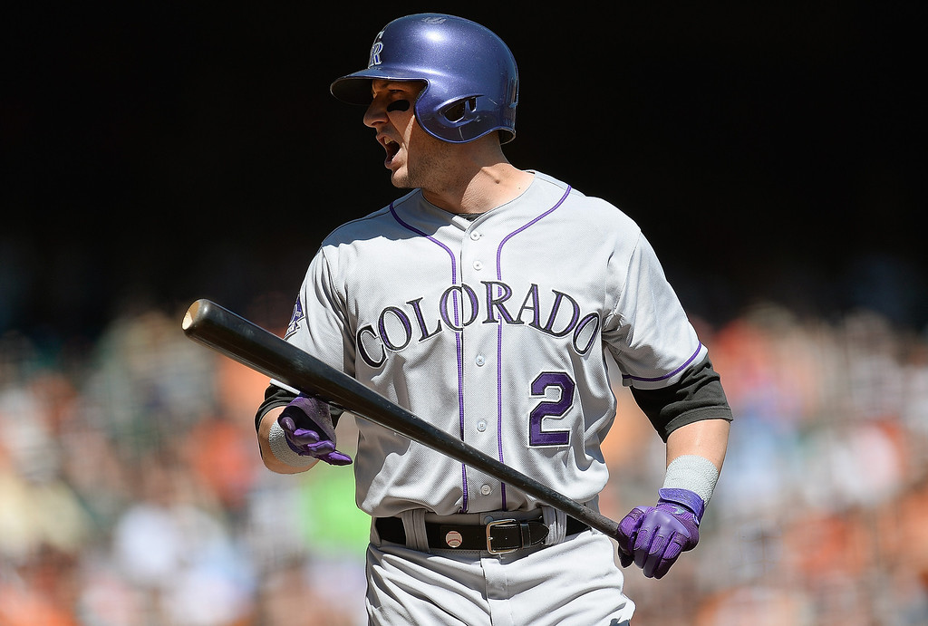 . SAN FRANCISCO, CA - APRIL 10: Troy Tulowitzki #2 of the Colorado Rockies reacts to a called third strike against the San Francisco Giants in the first inning at AT&T Park on April 10, 2013 in San Francisco, California. (Photo by Thearon W. Henderson/Getty Images)