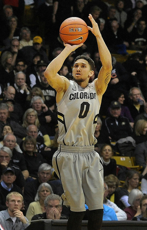 . BOULDER, CO. - FEBRUARY 14: Colorado Buffaloes guard Askia Booker (0) found an open look in the second half. The University of Colorado men\'s basketball team defeated Arizona 71-58 Thursday night, February 14, 2013 at the Coors Event Center in Boulder. (Photo By Karl Gehring/The Denver Post)