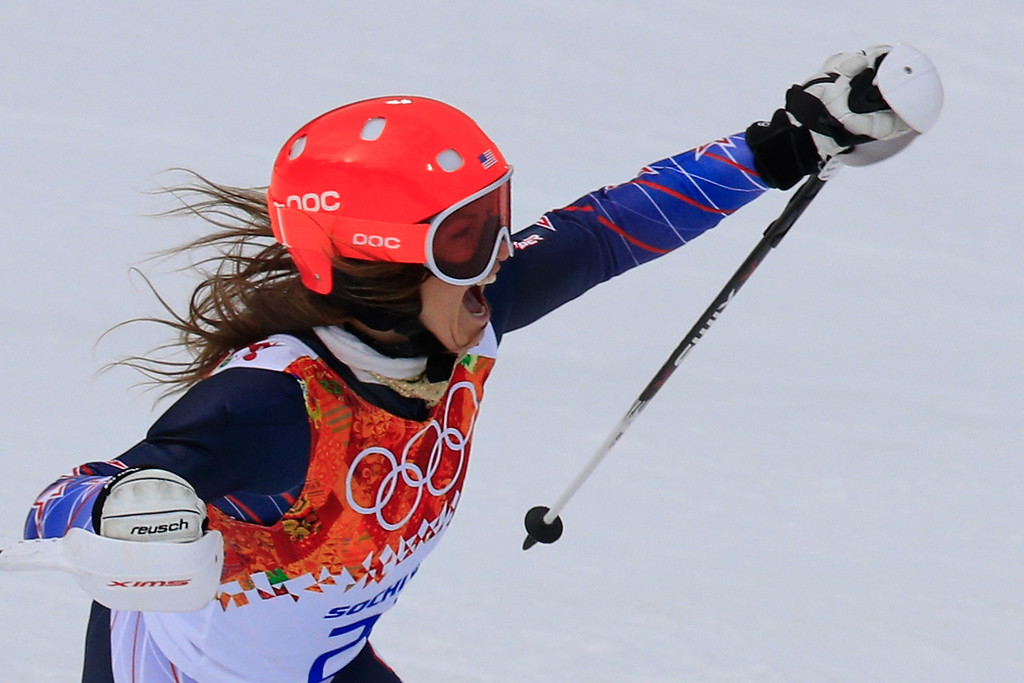 . US skier Julia Mancuso takes bronze in the Women\'s Alpine Skiing Super Combined Slalom at the Rosa Khutor Alpine Center during the Sochi Winter Olympics on February 10, 2014.   AFP PHOTO / ALEXANDER KLEIN/AFP/Getty Images