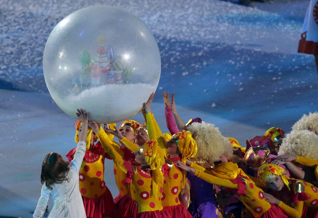 . Artists perform during the opening ceremony of the 2014 Winter Olympics in Sochi, Russia, Friday, Feb. 7, 2014. (AP Photo/Ivan Sekretarev)