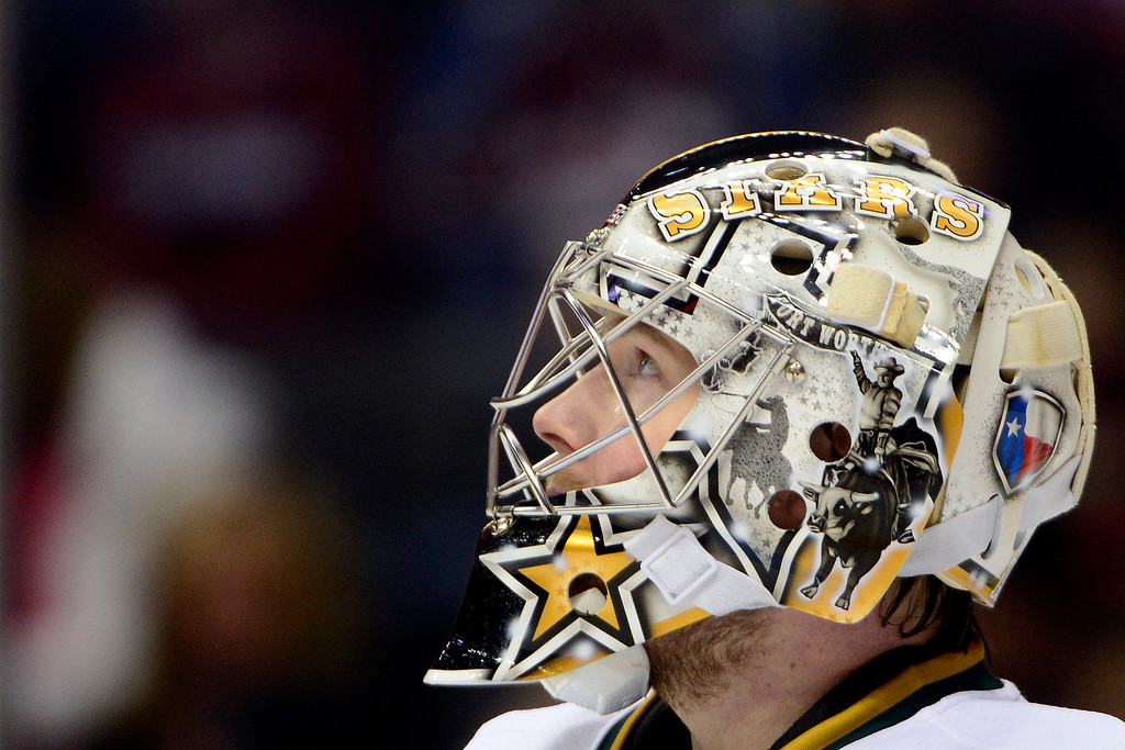 . DENVER, CO. - FEBRUARY 4: Kari Lehtonen (32) of the Dallas Stars looks up at the scoreboard during the first period of action. Colorado Avalanche versus the Dallas Stars at the Pepsi Center on February 4, 2012. (Photo By AAron Ontiveroz/The Denver Post)