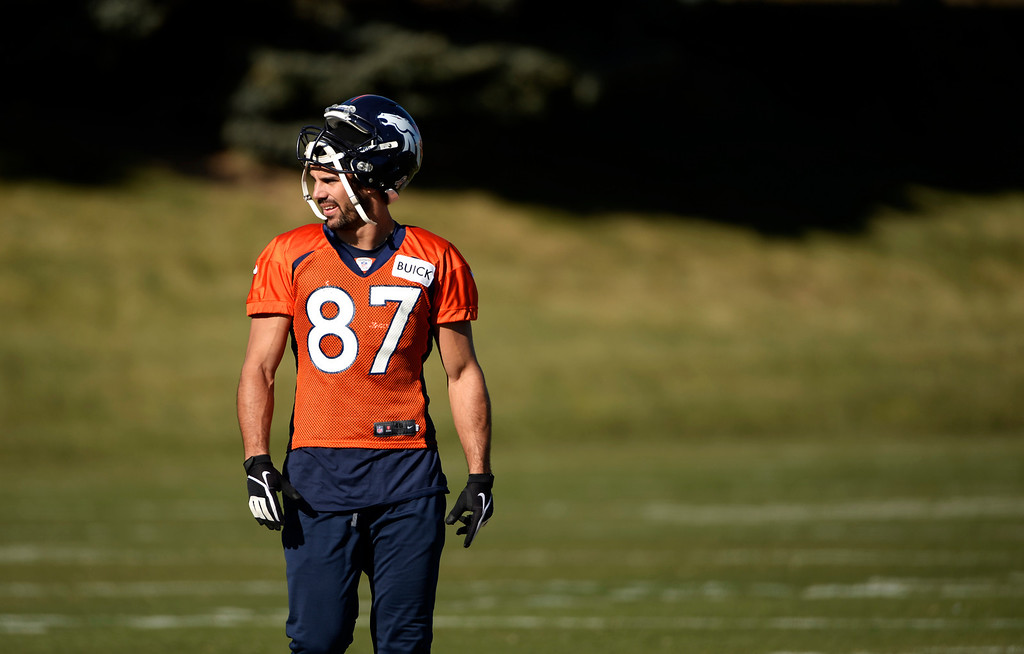 . Eric Decker of the Denver Broncos practice at Dove Valley, November 14, 2013. The team prepares to take on the undefeated Kansas City Chiefs on Sunday. (Photo by RJ Sangosti/The Denver Post)