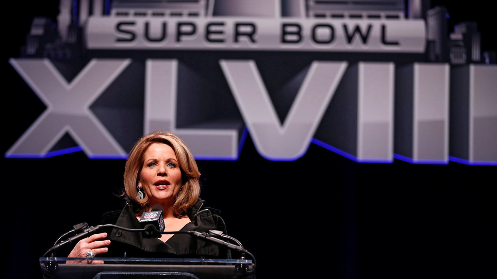 . Grammy award winning soprano, Renee Fleming, speaks at a news conference for the Super Bowl LXVIII in New York, New York, USA, 30 January 2014.   EPA/TANNEN MAURY