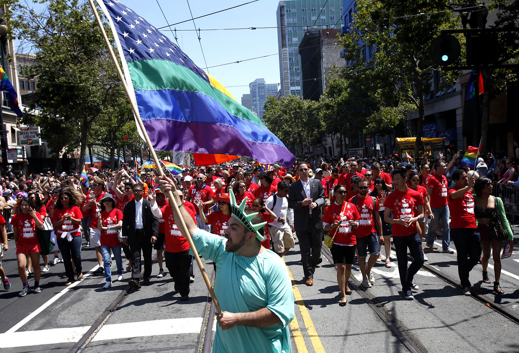 . Nikolas Lemos leads Mayor Ed Lee\'s contingent during 43rd annual San Francisco Lesbian, Gay, Bisexual, Transgender (LGBT) Pride Celebration & Parade June 30, 2013, in San Francisco, California.  The annual S.F. Pride Parade occurred just days after same-sex marriages were reinstated in California following the recent Supreme Court rulings.  (Photo by Sarah Rice/Getty Images)