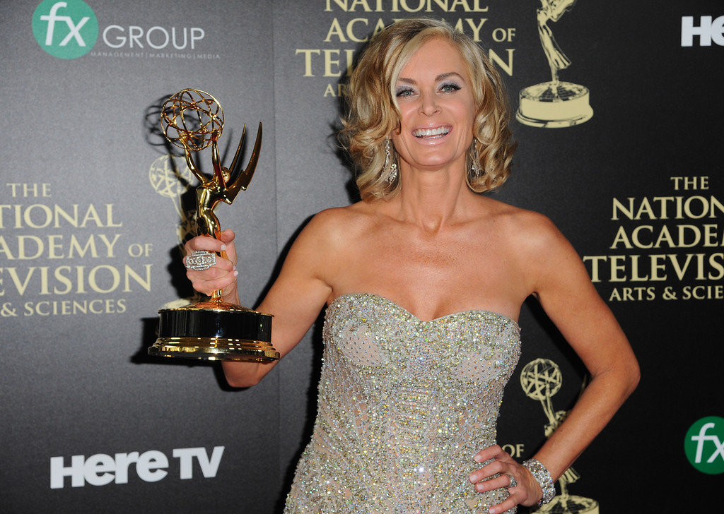 . Eileen Davidson poses in the press room with the award for outstanding lead actress in a drama series for ìDays of Our Livesî at the 41st annual Daytime Emmy Awards at the Beverly Hilton Hotel on Sunday, June 22, 2014, in Beverly Hills, Calif. (Photo by Richard Shotwell/Invision/AP)