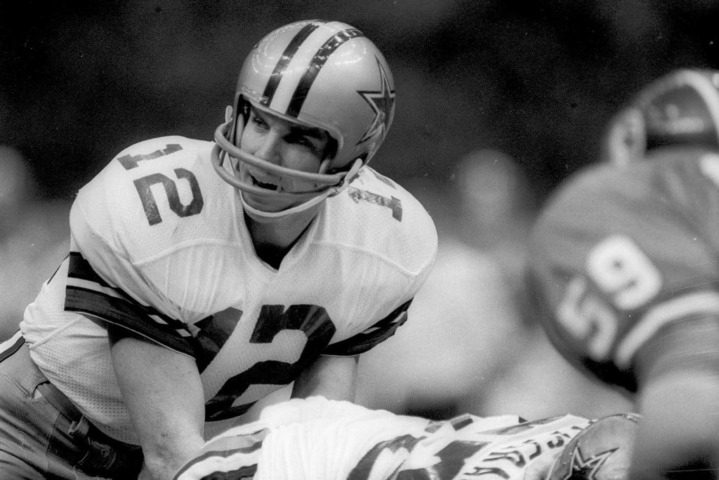 . Dallas Cowboys quarterback Roger Staubach calls out the signals at the line of scrimmage as he prepares for the snap from center in Super Bowl XII against the Denver Broncos on Jan. 15, 1978, in New Orleans.    (AP Photo)