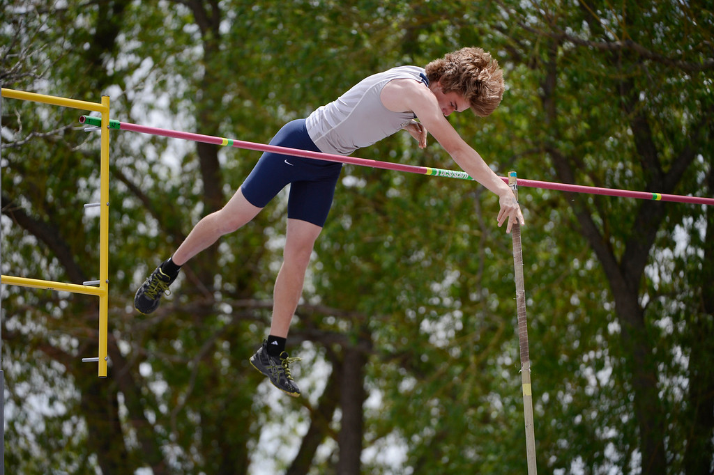 . Nathan Brock, Palmer Ridge High School, clears the bar during the boys 4A pole vault competition at the Colorado State Track and Field Championships at Jeffco Stadium, Saturday morning, May 18, 2013.  (AP Photo/The Denver Post, Andy Cross)
