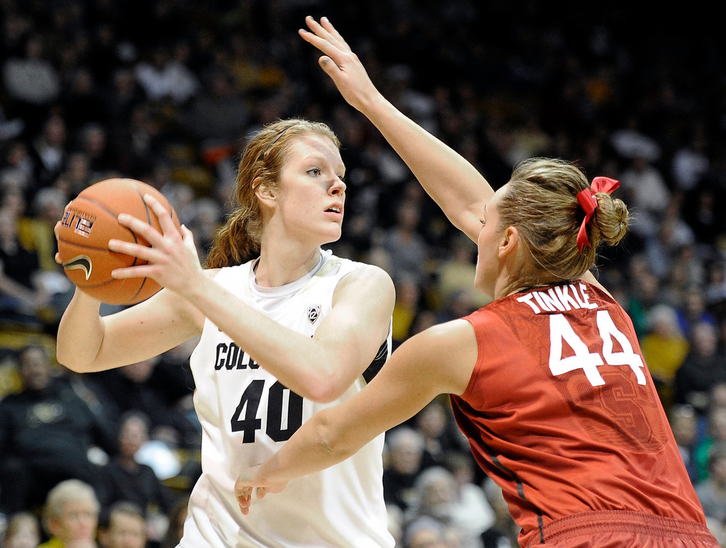 . University of Colorado\'s Rachel Hargis looks to pass the ball over Joslyn Tinkle during a game against Stanford on Friday, Jan. 4, at the Coors Event Center on the CU campus in Boulder.    Jeremy Papasso/Camera