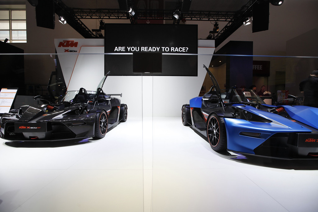 ". KTM X-bow sports cars are on display at the China International Exhibition Center new venue during the ""Auto China 2014\"" Beijing International Automotive Exhibition in Beijing on April 21, 2014.   AFP PHOTOSTR/AFP/Getty Images"