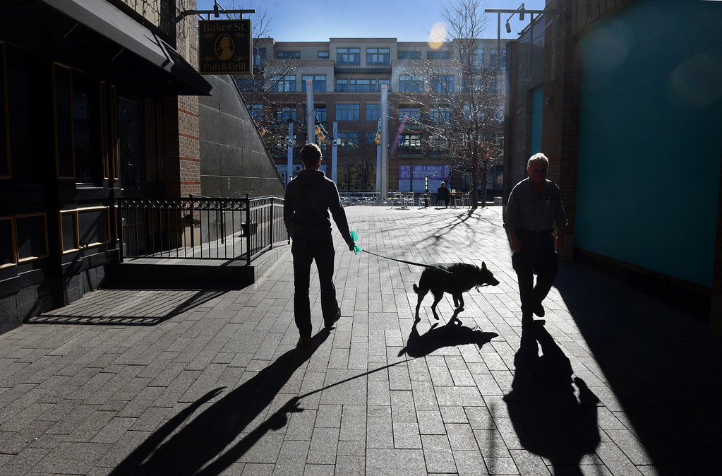 """. Mark Perna walks his dog Hannah on the plaza at Belmar in Lakewood, CO, January 22, 2013. Perna said he appreciates the accessibility, \""""everything is close. I don\'t have to waste time getting the necessities.\"""" (Photo By Craig F. Walker / The Denver Post)"""