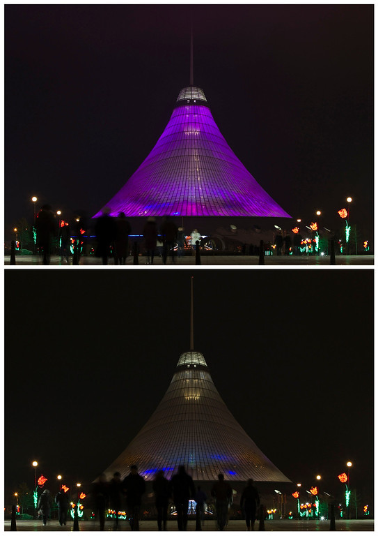 . A combination photo shows the Khan Shatyr Shopping and Entertainment Center before (top) and during Earth Hour in Astana March 23, 2013. Earth Hour, when everyone around the world is asked to turn off the lights for an hour from 8.30pm local time, is meant as a show of support for tougher actions to combat climate change.  REUTERS/Shamil Zhumatov