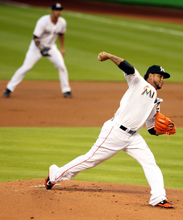 . Pitcher Henderson Alvarez #37 of the Miami Marlins throws against the Colorado rockies during the first inning at Marlins Park on April 2, 2014 in Miami, Florida.  (Photo by Marc Serota/Getty Images)