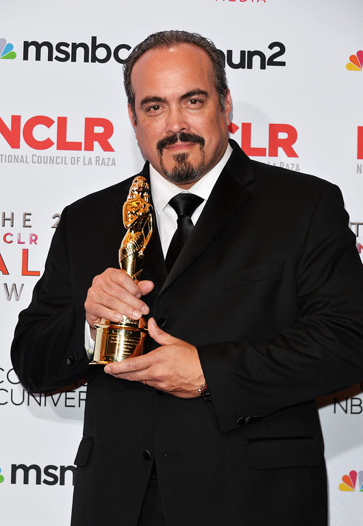 . PASADENA, CA - SEPTEMBER 27:  Actor David Zayas poses with the Special Achievement in Television award for \'Dexter\' at the Winner\'s Walk during the 2013 NCLR ALMA Awards at Pasadena Civic Auditorium on September 27, 2013 in Pasadena, California.  (Photo by Alberto E. Rodriguez/Getty Images for NCLR)