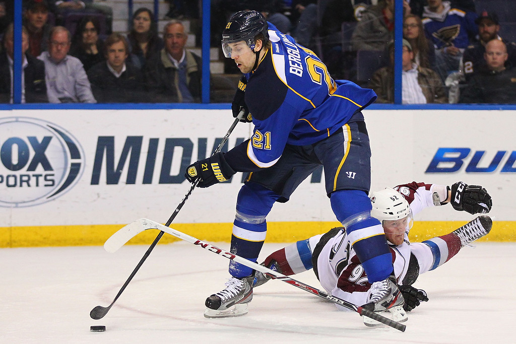 . ST. LOUIS, MO - APRIL 23: Gabriel Landeskog #92 of the Colorado Avalanche looks to break up Patrik Berglund #21 of the St. Louis Blues shot on goal during the first period at the Scottrade Center on April 23, 2013 in St. Louis, Missouri.  (Photo by Dilip Vishwanat/Getty Images)