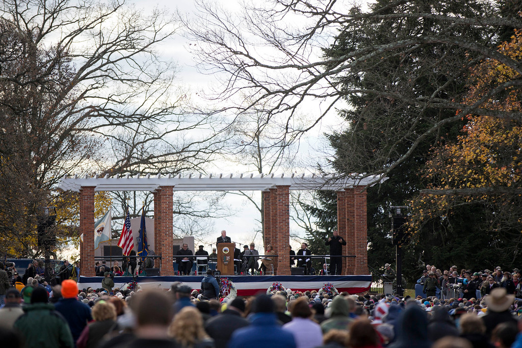 . Pennsylvania Gov. Tom Corbett speaks during a ceremony commemorating the 150th anniversary of the dedication of the Soldiers\' National Cemetery and President Abraham Lincoln\'s Gettysburg Address, Tuesday, Nov. 19, 2013, in Gettysburg, Pa. Lincoln\'s speech was first delivered in Gettysburg nearly five months after the major battle that left tens of thousands of men wounded, dead or missing.  (AP Photo/Matt Rourke)