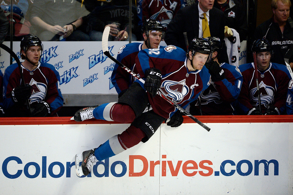. Colorado Avalanche left wing Gabriel Landeskog (92) hits the ice during a shift change during the second period against the Philadelphia Flyers January 2, 2014 at Pepsi Center. (Photo by John Leyba/The Denver Post)