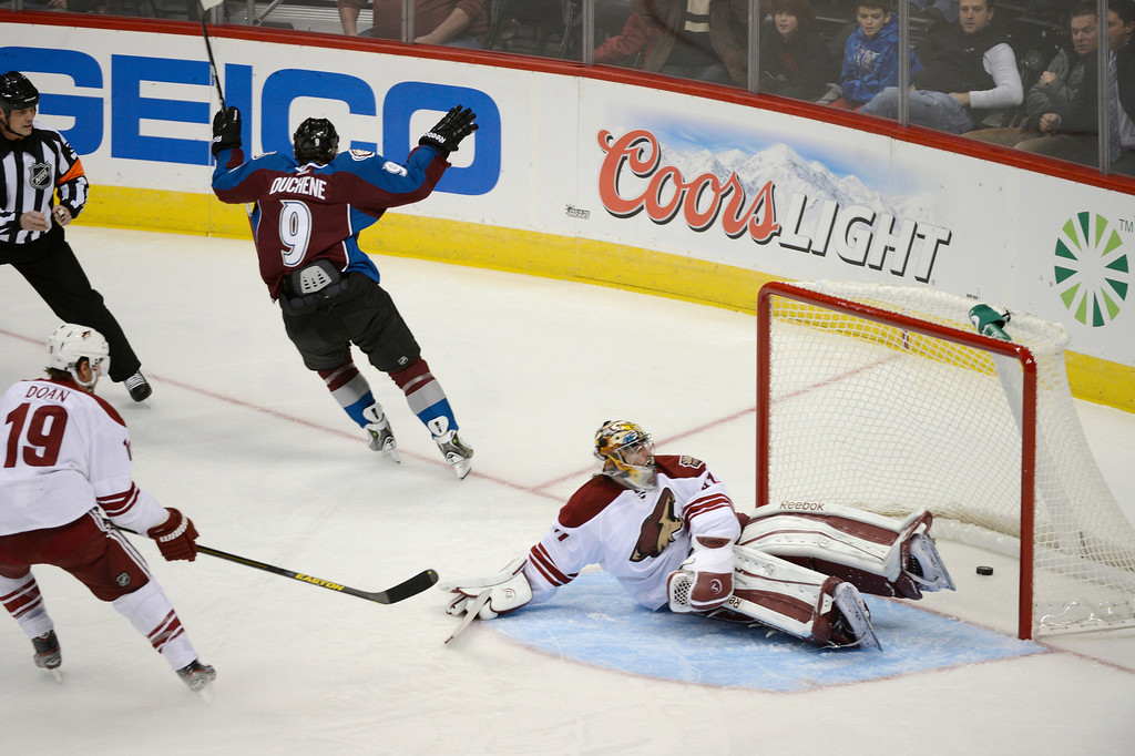 . DENVER, CO. - FEBRUARY 11: Matt Duchene (9) of the Colorado Avalanche celebrates his goal on G Mike Smith (41) of the Phoenix Coyotes during the second period February 11, 2013 at Pepsi Center.(Photo By John Leyba/The Denver Post)