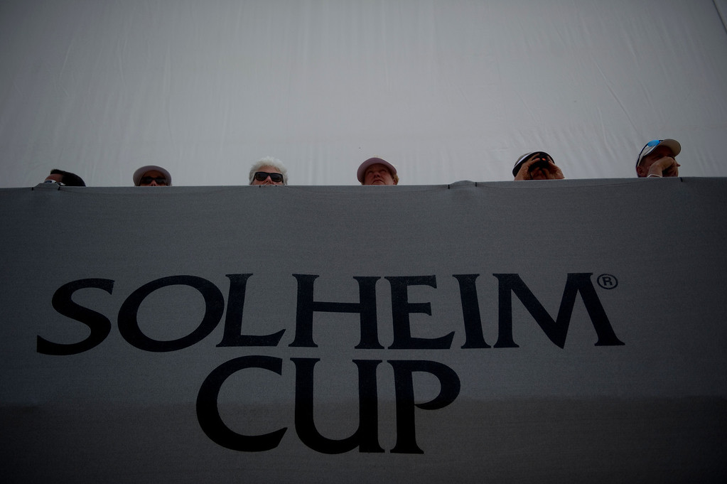 . PARKER, CO - AUGUST 16: Fans watch from the Ping Pavilion during the first day of the Solheim Cup at Colorado Golf Club, on August 16, 2013.  (Photo By Grant Hindsley/The Denver Post)