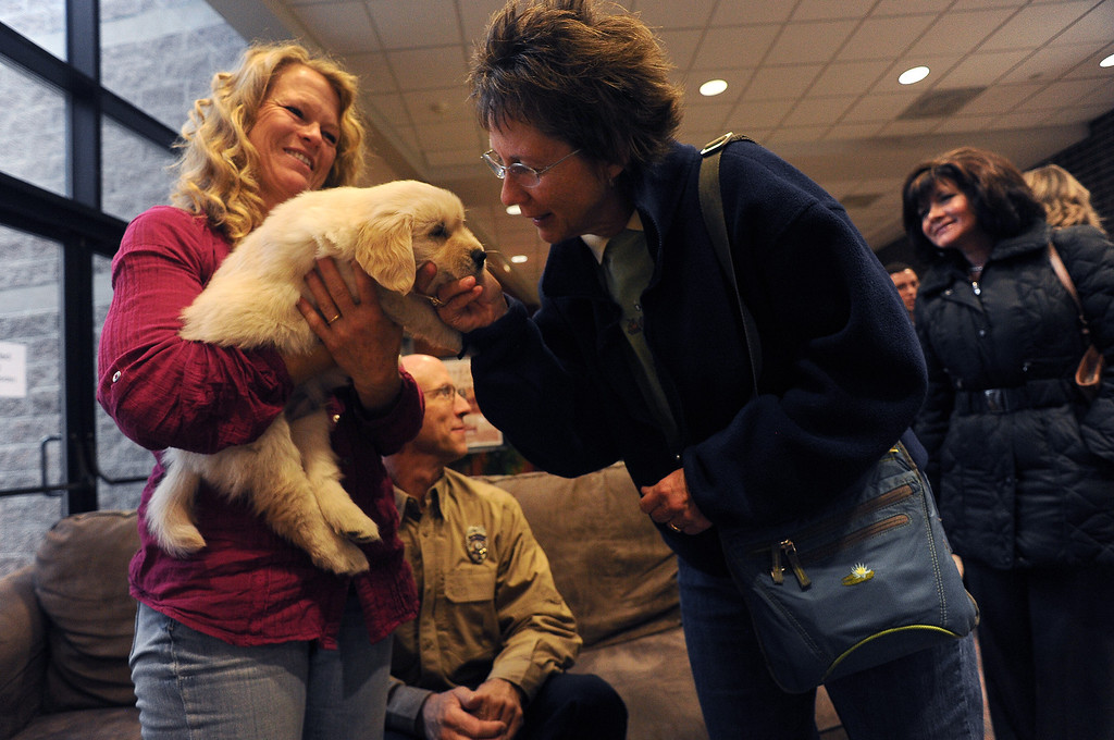 . LONGMONT, CO - OCTOBER 29:   Geri Plank, left, holds 5 week old Chinook as Nancy Hills pets the small puppy at Life Bridge Community Church in Longmont, Co on October 29, 2013.   Chinook was born just a few days after the flood.  Her mother was taken out of the Pinewood Springs area via a Chinook helicopter to escape the floods.  Because of this dramatic effort to get the dog to the vet before she gave birth Geri and her husband named this puppy Chinook.  (Photo By Helen H. Richardson/ The Denver Post)