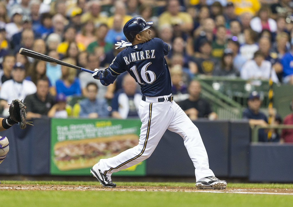. Aramis Ramirez #16 of the Milwaukee Brewers hits a two-run homer run off of Christian Friedrich (not pictured) of the Colorado Rockies at Miller Park on June 26, 2014 in Milwaukee, Wisconsin.  (Photo by Tom Lynn/Getty Images)