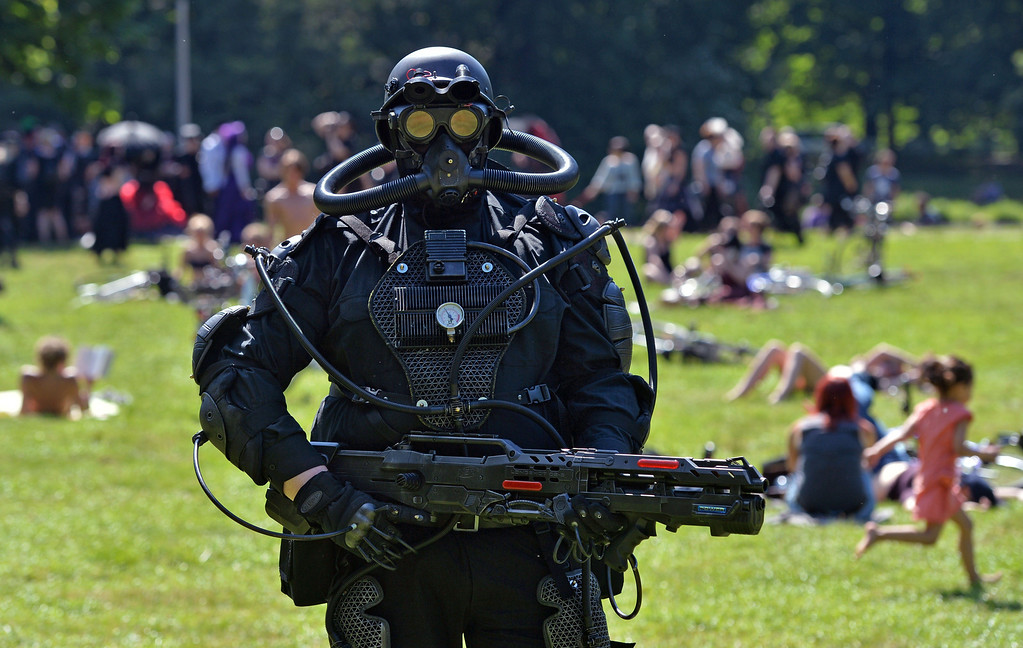 . A man wears a dark phantasy costume during the Wave-Gothic-meeting in Leipzig-Markkleeberg, eastern Germany on June 6, 2014. AFP PHOTO / DPA/ HENDRIK SCHMIDT /AFP/Getty Images