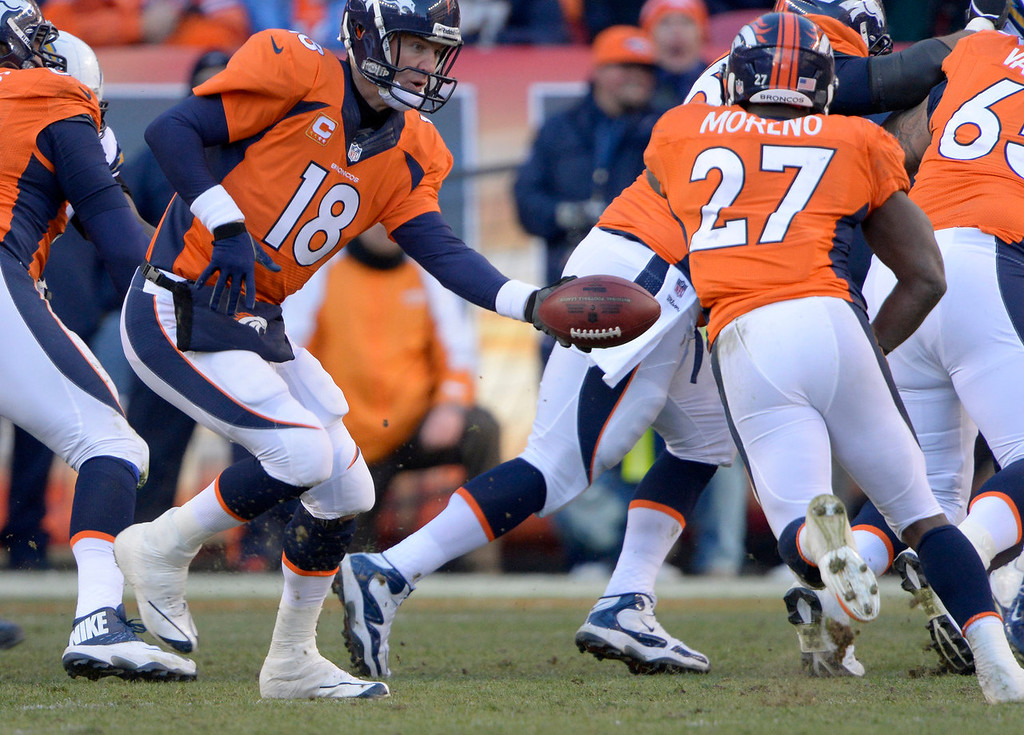 . Denver Broncos quarterback Peyton Manning (18) hands off to Denver Broncos running back Knowshon Moreno (27) during the second quarter. The Denver Broncos vs. The San Diego Chargers in an AFC Divisional Playoff game at Sports Authority Field at Mile High in Denver on January 12, 2014. (Photo by Joe Amon/The Denver Post)