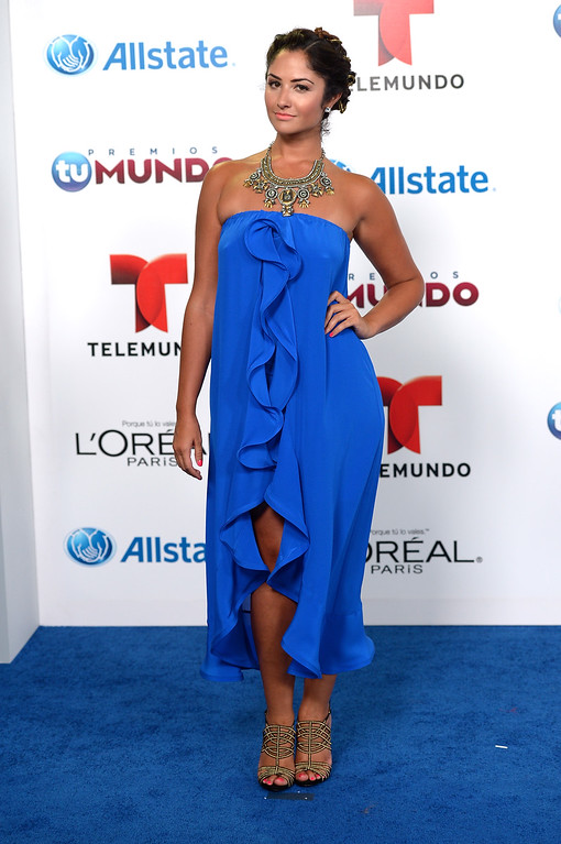 . MIAMI, FL - AUGUST 15:   Karla Birbragher arrives for Telemundo\'s Premios Tu Mundo Awards at American Airlines Arena on August 15, 2013 in Miami, Florida.  (Photo by Gustavo Caballero/Getty Images)