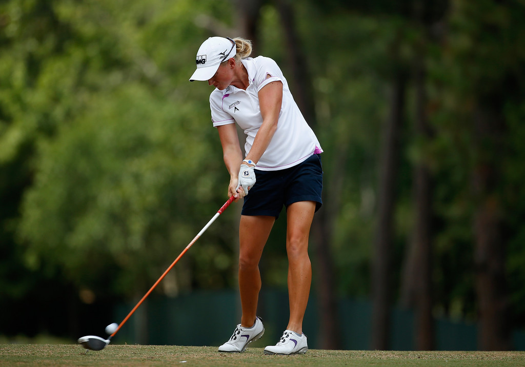 . Stacy Lewis of the United States hits her tee shot on the tenth hole during the final round of the 69th U.S. Women\'s Open at Pinehurst Resort & Country Club, Course No. 2 on June 22, 2014 in Pinehurst, North Carolina.  (Photo by Scott Halleran/Getty Images)
