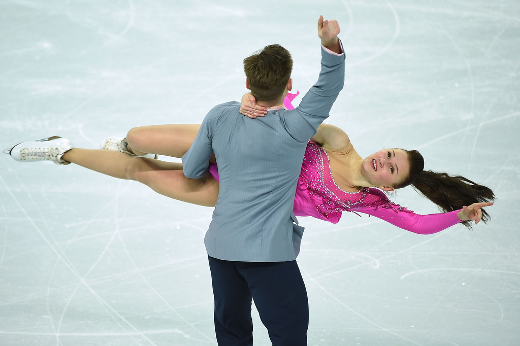 . Azerbaijan\'s Julia Zlobina and Azerbaijan\'s Alexei Sitnikov perform in the Figure Skating Ice Dance Short Dance at the Iceberg Skating Palace during the Sochi Winter Olympics on February 16, 2014.      JUNG YEON-JE/AFP/Getty Images