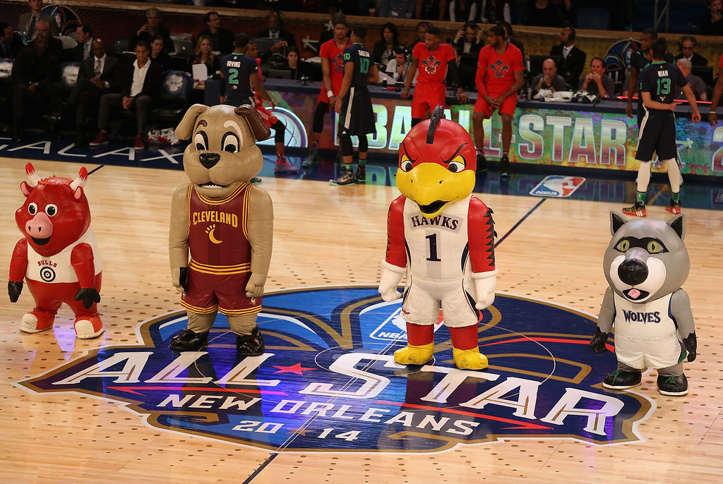 . NBA mascots peform during 2014 NBA All-Star game between the Eastern Conference and Western Conference at the Smoothie King Center on February 16, 2014 in New Orleans, Louisiana. The East defeated the West 163-155. (Photo by Christian Petersen/Getty Images)