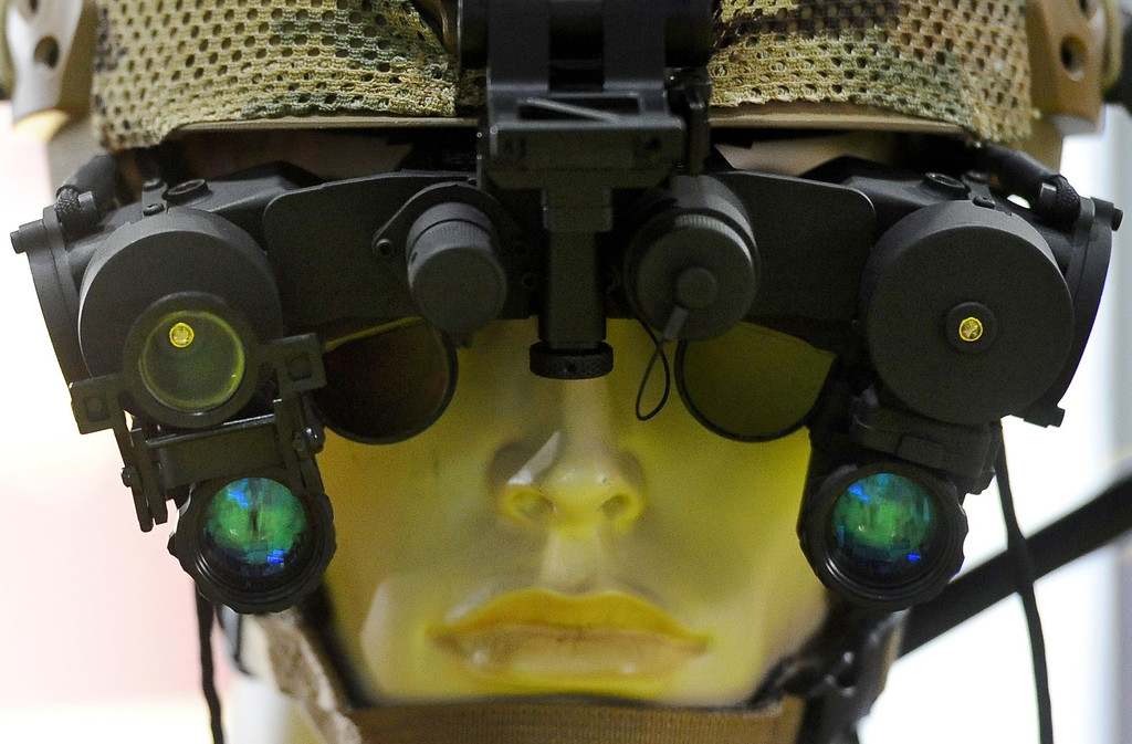 . Nightvision eyewear is displayed at the Defense and Security Equipment International (DSEI) arms fair at the ExCeL centre in east London, on September 10, 2013. The arms fair describes it self as the world\'s largest fully integrated defence and security exhibition.  AFP PHOTO / BEN STANSALL/AFP/Getty Images