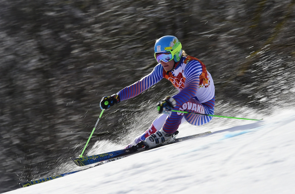 . Slovakia\'s Adam Zampa competes during the Men\'s Alpine Skiing Giant Slalom Run 2 at the Rosa Khutor Alpine Center during the Sochi Winter Olympics on February 19, 2014.      AFP PHOTO / FABRICE COFFRINI  /AFP/Getty Images