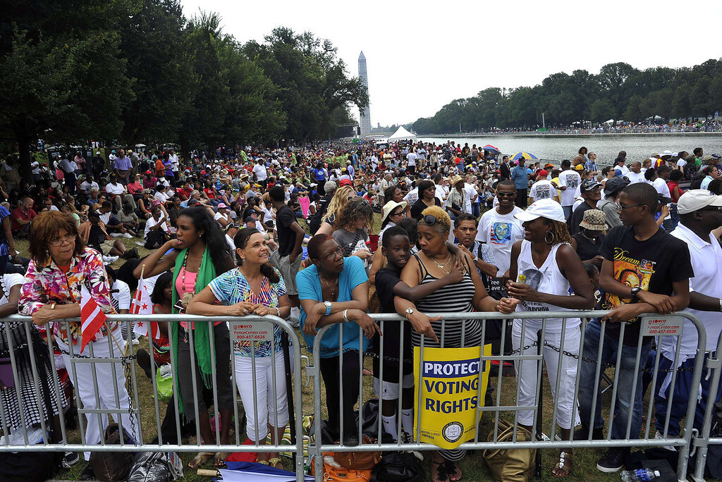 ". People crowd near the Lincoln Memorial in Washington, DC, on August 28, 2013 to take part in a commemorating of the 50th anniversary on the March on Washington, the civil rights watershed where Martin Luther King Jr famously declared: ""I have a dream.\"" The March on Washington is best remembered for King\'s stirring vision of a United States free of inequality and prejudice, telecast live to a nation undergoing a phenomenal decade of soul-searching, crisis and change.   JEWEL SAMAD/AFP/Getty Images"