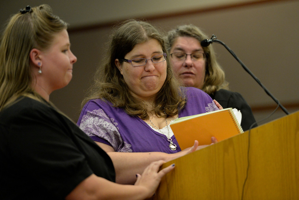 . From left, Becca Ridgeway, aunt of Jessica Ridgeway, Sarah Ridgeway, Jessica\'s mother, and Christine Ridgeway, grandmother of Jessica, address the court during Austin Sigg\'s sentencing hearing in a Jefferson County Court, in Golden, November 18, 2013. Sigg, who pleaded guilty to the kidnapping and murder of 10-year-old Jessica Ridgeway, was in Courtroom 1-A with Chief Judge Stephen M. Munsinger presiding over the hearing.   (Photo by RJ Sangosti/The Denver Post)