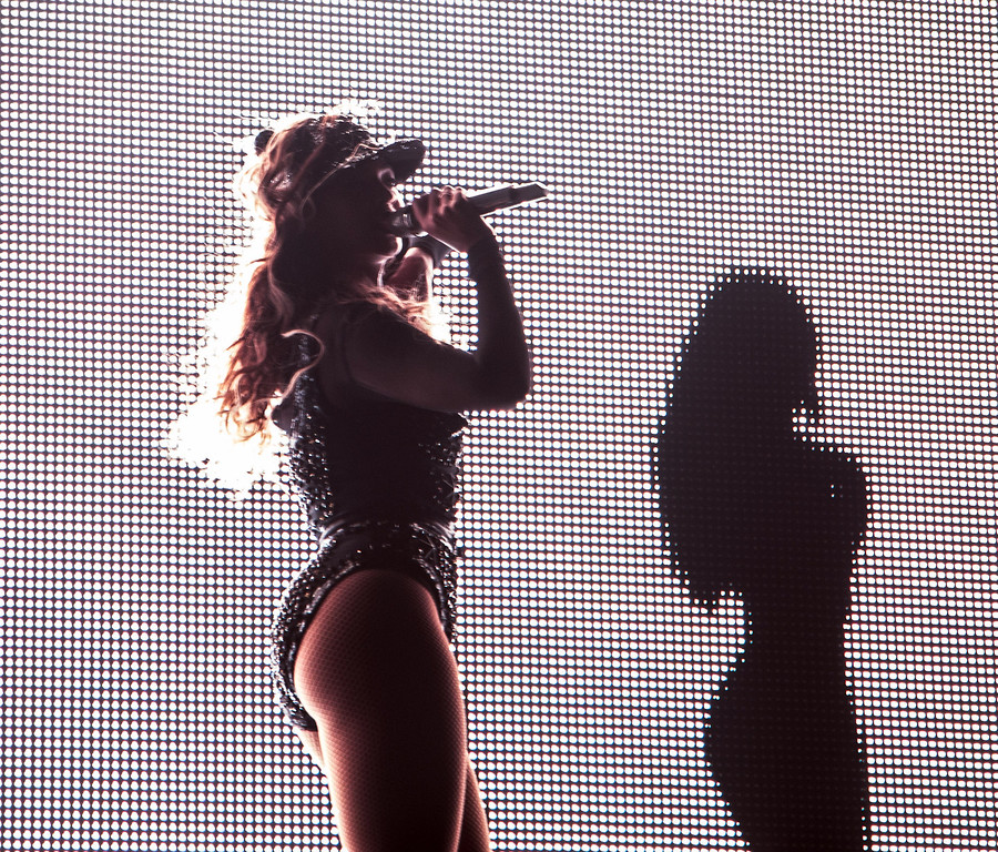 """. On Wednesday July 10, 2013, Beyonce performs on her \""""Mrs. Carter Show World Tour 2013\"""" at the BB&T Center in  Ft. Lauderdale, Fla.  (Photo by Robin Harper/Invision for Parkwood Entertainment/AP Images)"""