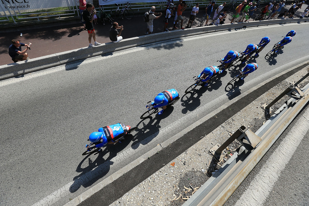 . Team Garmin-Sharp in action during stage four of the 2013 Tour de France, a 25KM Team Time Trial on July 2, 2013 in Nice, France.  (Photo by Doug Pensinger/Getty Images)