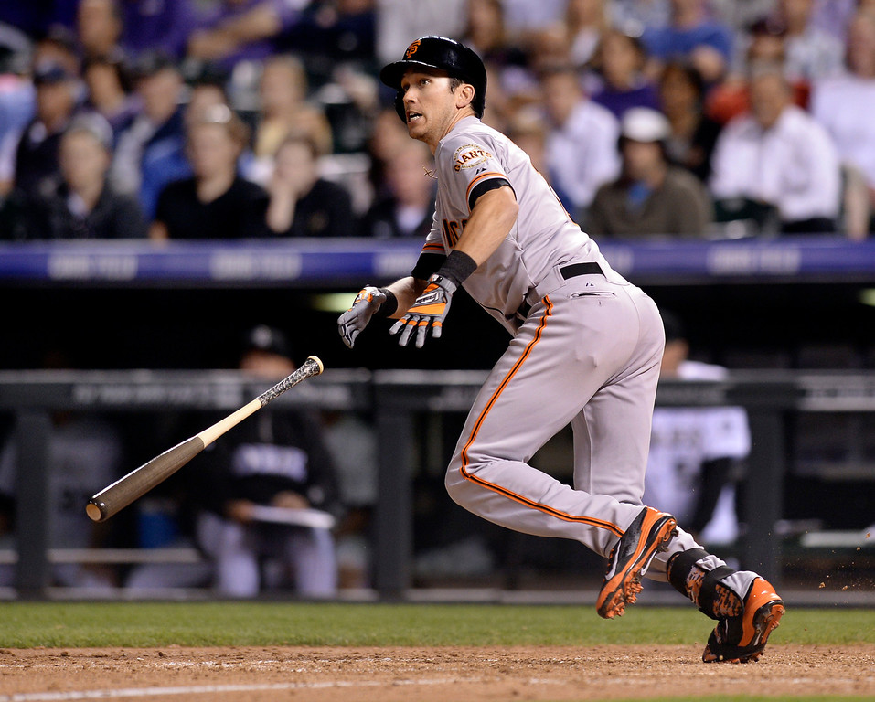 . Giants outfielder Tyler Colvin doubled in a run in the ninth inning to give San Francisco a 4-3 lead. The Colorado Rockies defeated the San Francisco Giants 5-4 at Coors Field Tuesday night, May 20, 2014. (Photo by Karl Gehring/The Denver Post)